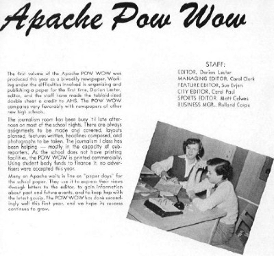 A section of the 1953 AHS yearbook about The Apache Pow Wow.